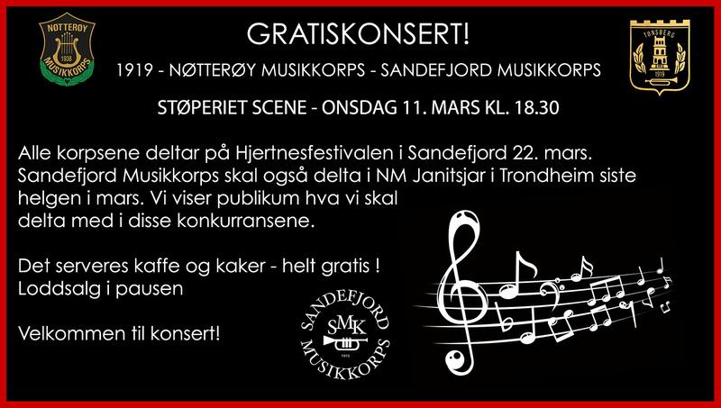 Gratiskonsert med 1919 og Sandefjord Musikkorps - mars 2020